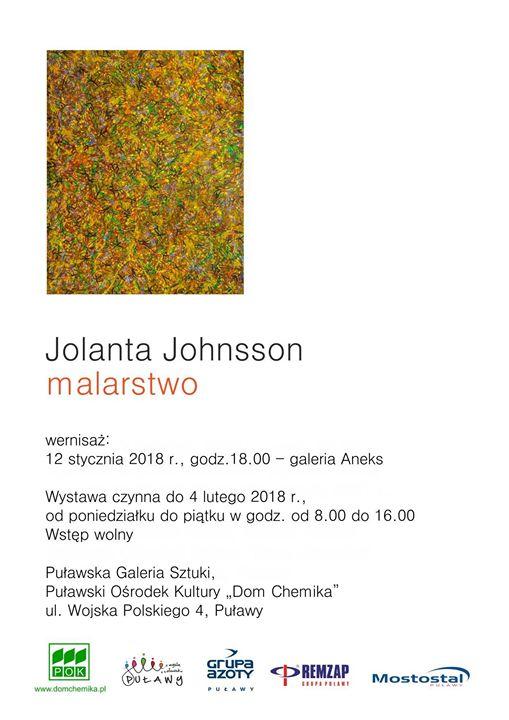 """Puławski Ośrodek Kultury """"Dom Chemika"""" zaprasza na wernisaż wystawy Jolanty Johnsson """"Malarstwo"""", który odbędzie…"""