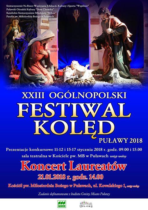 21 stycznia odbędzie się Koncert Laureatów XXIII Festiwalu Kolęd Puławy 2018