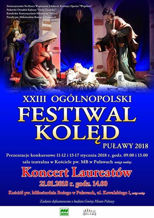 """Puławski Ośrodek Kultury """"Dom Chemika"""" zaprasza w niedzielę na Koncert Laureatów XXIII Festiwalu Kolęd"""