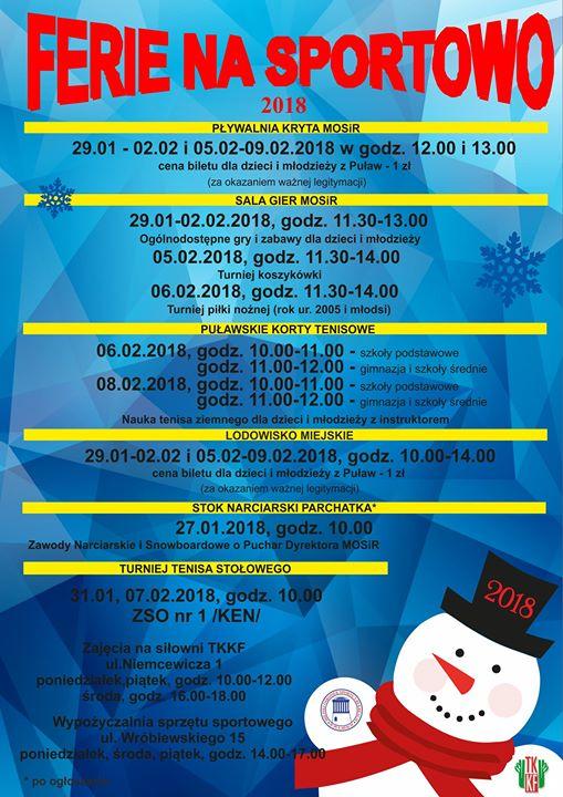 Propozycja MOSiR na nadchodzące ferie zimowe:-)