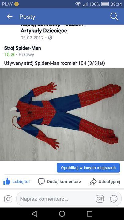 Strój spider man 15zł – Puławy