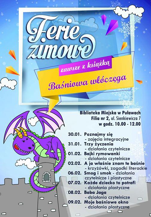 Filia nr 2 Biblioteki Miejskiej w Puławach zaprasza w okresie ferii zimowych najmłodszych czytelników…
