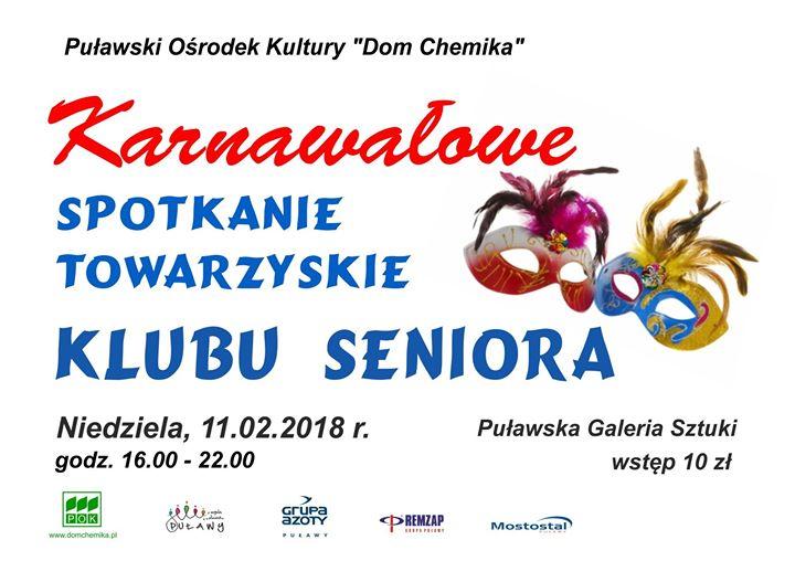 """Puławski Ośrodek Kultury """"Dom Chemika"""" zaprasza 11 lutego na Karnawałowe spotkanie towarzyskie Klubu Seniora"""