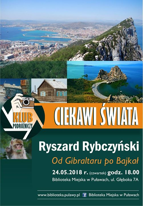 """Biblioteka Miejska w Puławach zaprasza na kolejne spotkanie klubu podróżniczego CIEKAWI ŚWIATA """"Od Gibraltaru…"""