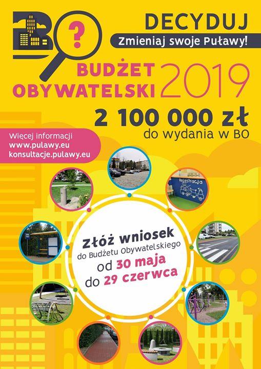 30 maja otworzyliśmy VI edycję Budżetu Obywatelskiego Miasta Puławy. Czekamy na Państwa pomysły do…