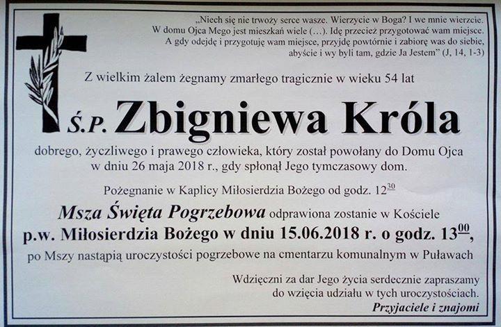 Zawiadamiam o pogrzebie p. Zbyszka, który zginął tragicznie w pożarze przy ul. Dęblińskiej