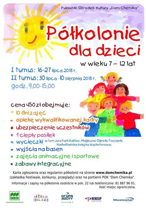 """Puławski Ośrodek Kultury """"Dom Chemika"""" zaprasza dzieci w wieku od 7 do 12 lat…"""