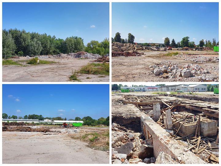 Kilka kadrów z placu budowy hali widowiskowo-sportowej. Trwają prace rozbiórkowe i porządkowanie terenu