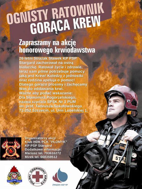 Pomoc dla Strażaka Sławka z JRG STARGARD