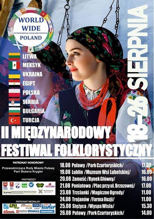 """26 sierpnia o godz. uczestnicy II Międzynarodowego Festiwalu Folklorystycznego """"World Wide 2018"""" ponownie zaprezentują…"""