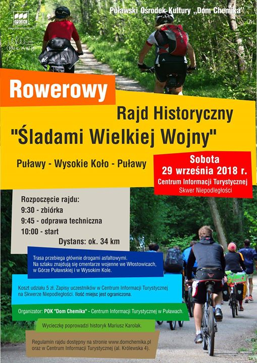 ️ Centrum Informacji Turystycznej w Puławach zaprasza do udziału w Rowerowym Rajdzie Historycznym odbywającym…