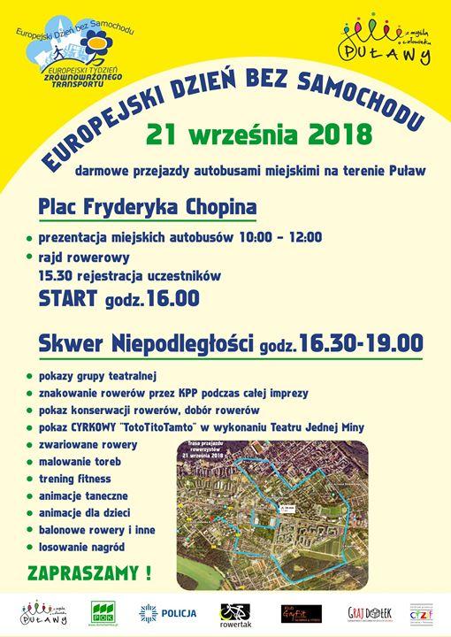 21 września w Puławach będzie obchodzony Europejski Dzień bez Samochodu. ️Od godziny 16:30 zapraszamy…