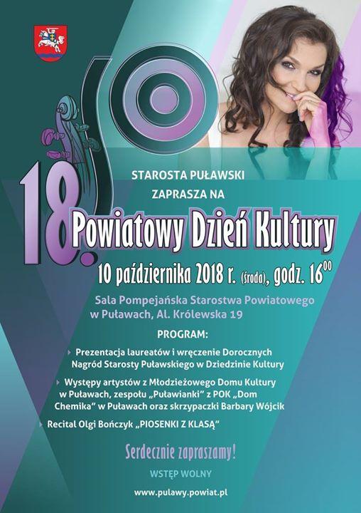 Starostwo Powiatowe w Puławach zaprasza na 18. Powiatowy Dzień Kultury. Głównym punktem uroczystości będzie…
