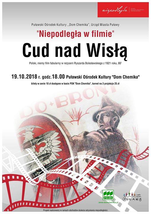 """Projekcja filmu """"Cud nad Wisłą"""" – polski, niemy film fabularny z 1921 roku, w…"""