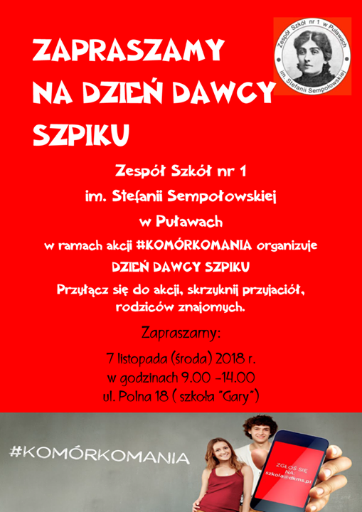 #Komórkomania w ZS nr 1 w Puławach 7 listopada 2018 r. w Zespole Szkół…