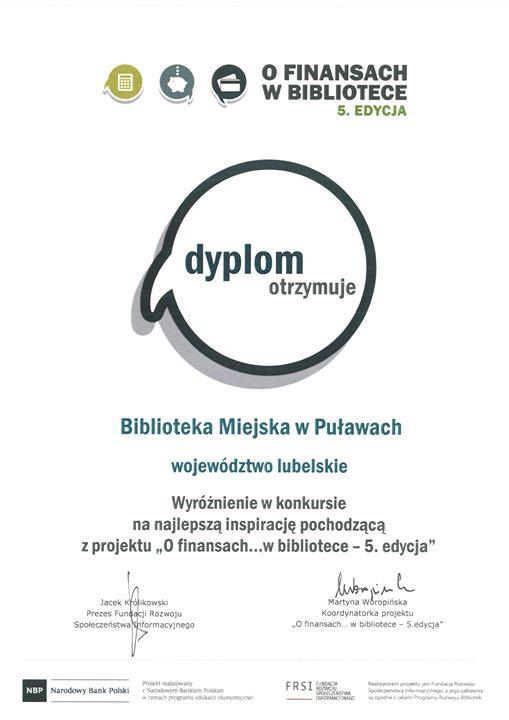 """Biblioteka Miejska w Puławach otrzymała wyróżnienie w konkursie na najlepszą inspirację w projekcie """"O…"""