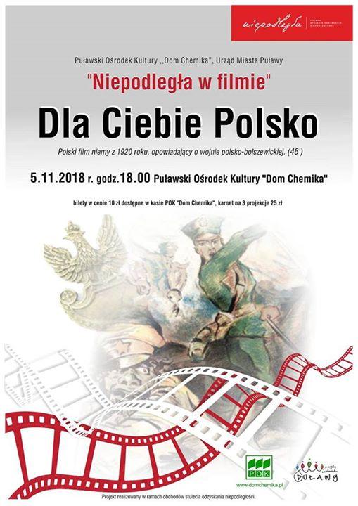 """5 listopada – kolejny film z cyklu """"Niepodległa w filmie"""" 🇵🇱️ """"Dla Ciebie Polsko""""…"""