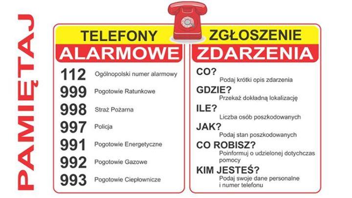 WAŻNE TELEFONY: – Numer Alarmowy: 112 – Straż Pożarna: 998 – Pogotowie Ratunkowe: 999…