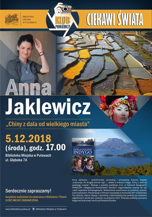 Biblioteka Miejska w Puławach zaprasza 5 grudnia o godzinie na spotkanie z podróżniczką, archeologiem…