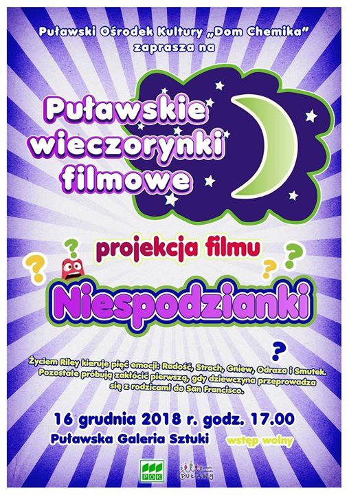 Już jutro o godzinie 17:00 w Puławskiej Galerii Sztuki, kolejna projekcja filmuNiespodzianki Puławskie Wieczorynki…