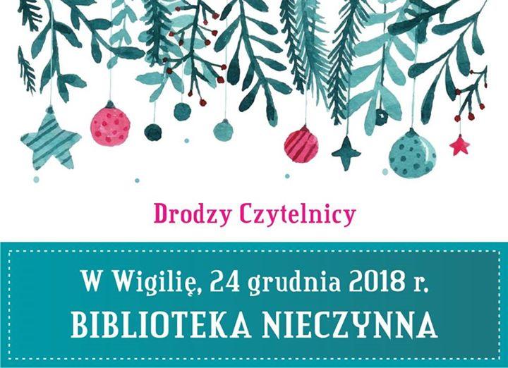 Informujemy, że Biblioteka Miejska w Puławach będzie nieczynna w dniu 24 grudnia 2018 r