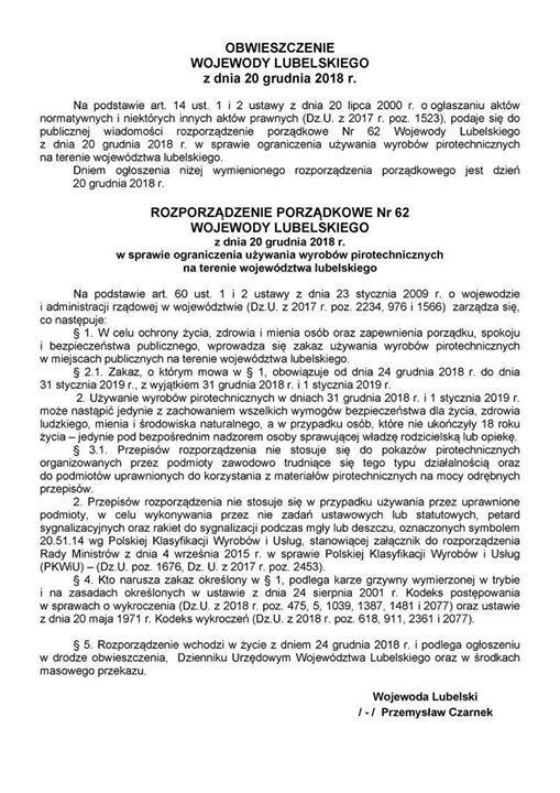 W dniu 20 grudnia 2018 r. Wojewoda Lubelski wydał Rozporządzenie porządkowe nr 62 w…