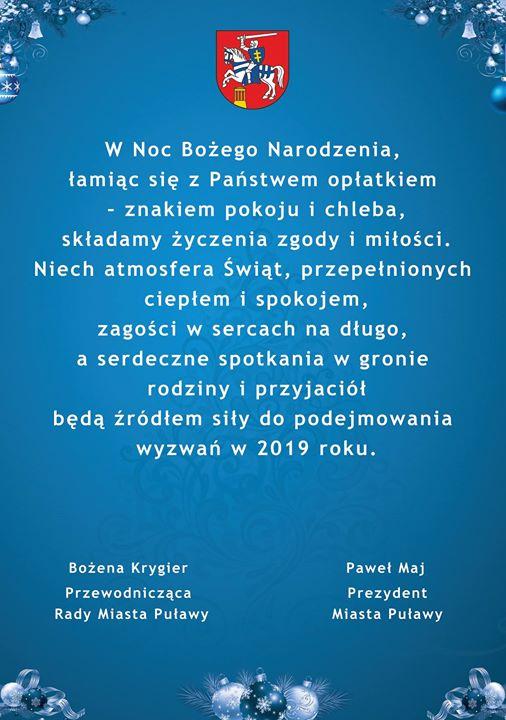Prezydent Miasta Puławy Paweł Maj oraz Przewodnicząca Rady Miasta Puławy Bożena Krygier pragną przekazać…