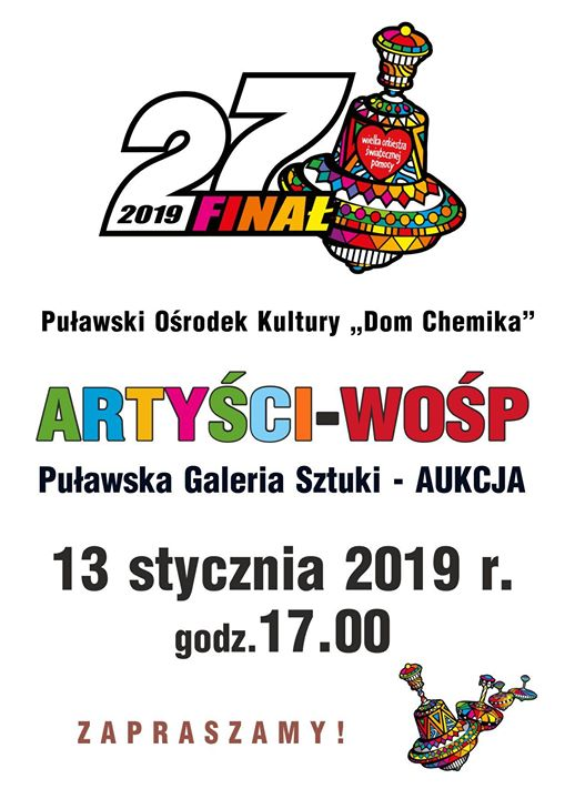 """Wystawa przedaukcyjna i aukcja WOŚP w Puławach️ Puławski Ośrodek Kultury """"Dom Chemika"""" jak co…"""