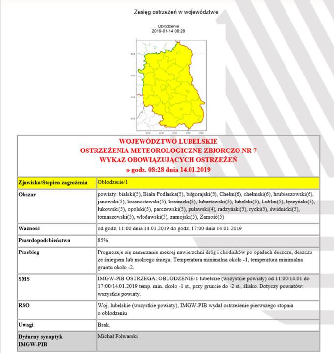️ Uwaga ️ Instytut Meteorologii i Gospodarki Wodnej – Państwowy Instytut Badawczy w Warszawie…
