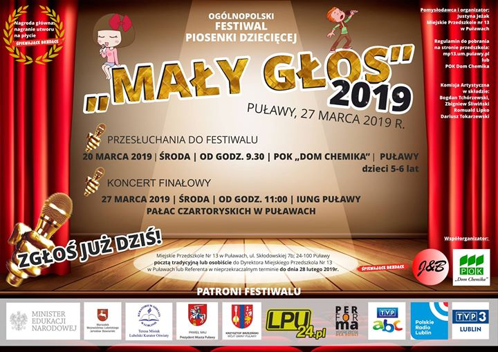  Miejskie Przedszkole Nr 13 w Puławach zaprasza do udziału w Ogólnopolskim Festiwalu Piosenki…