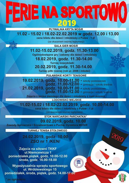 Miejski Ośrodek Sportu i Rekreacji w Puławach, jak co roku, przygotował ofertę sportową skierowaną…
