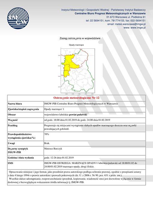 ️ Uważajcie na śliskie drogi i chodniki – IMGiW prognozuje wystąpienie w naszym regionie…