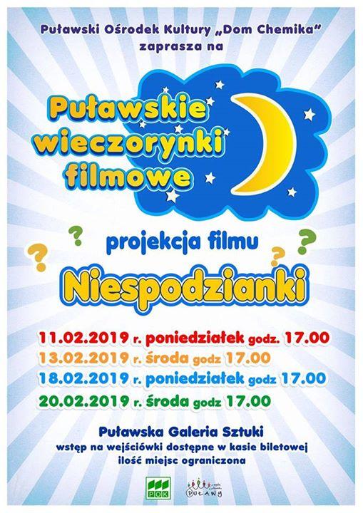 Projekcja kolejnego filmuNiespodzianki już jutro, o godz. w Puławskiej Galerii Sztuki