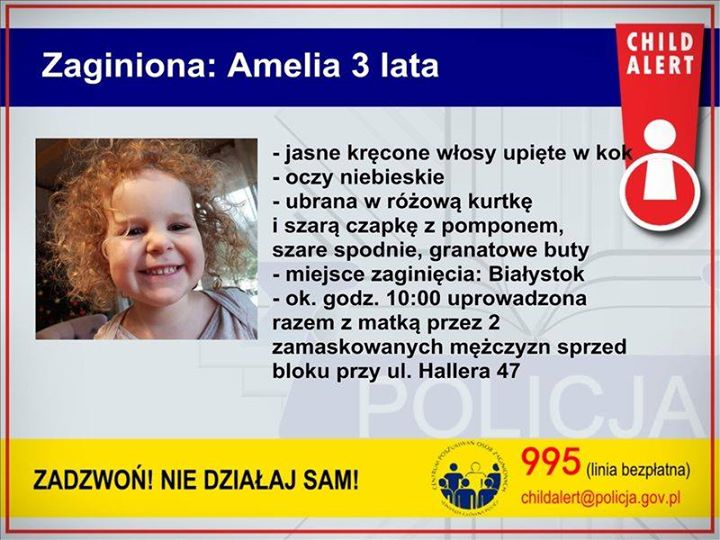 CHILD ALERT Policjanci zdecydowali się na opublikowanie wizerunku poszukiwanego ojca 3-letniej Amelki. Mężczyzna ten,…