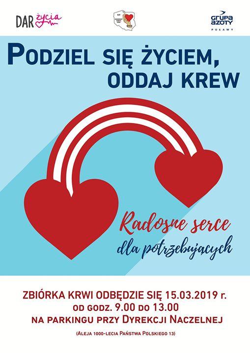 """Kolejna zbiórka krwi pod hasłem: """"Radosne serce dla potrzebujących"""" odbędzie się 15 marca 2019…"""