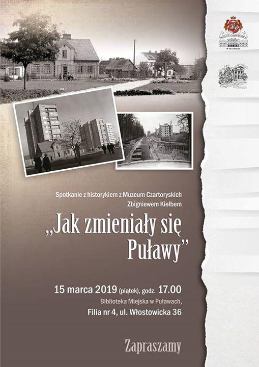 Pracownia Dokumentacji Dziejów Miasta dział Muzeum Czartoryskich w Puławach zaprasza 15 marca na godzinę…