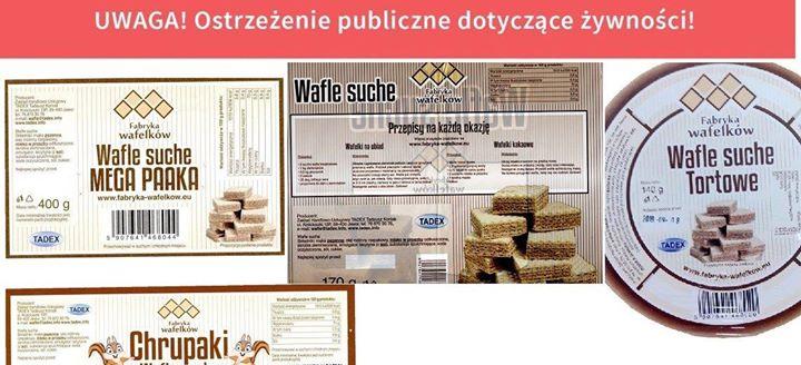 OSTRZEŻENIA DOTYCZĄCE ŻYWNOŚCI Główny Inspektorat Sanitarny wydał ostrzeżenia publiczne dotyczące: Wycofania wafli suchych, do…