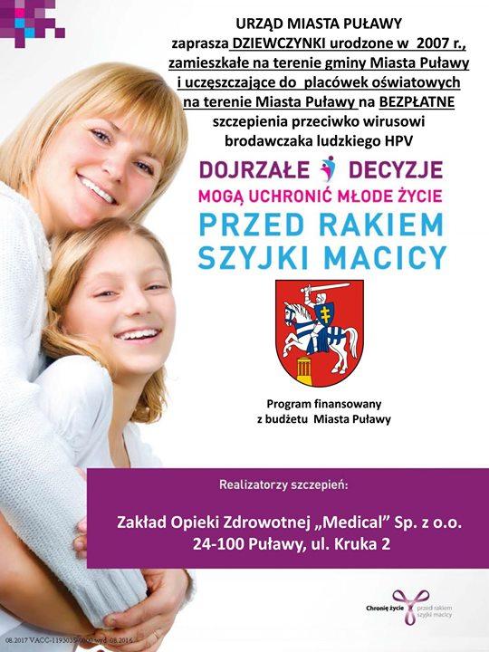 W ramach realizacji Programu Polityki Zdrowotnej Miasta Puławy na lata 2017-2021 obejmującego szczepienia przeciwko…
