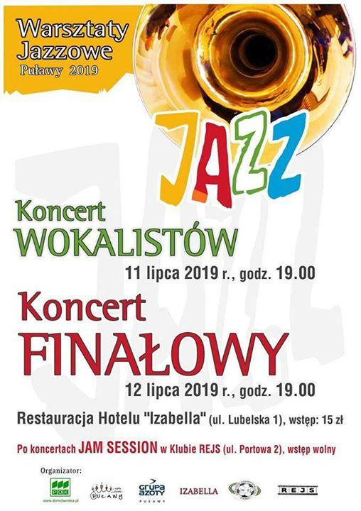Koncerty Finałowy, podsumowujący Warsztaty Jazzowe Puławy 2019 odbędzie się dziś o godz. 19:00 w…