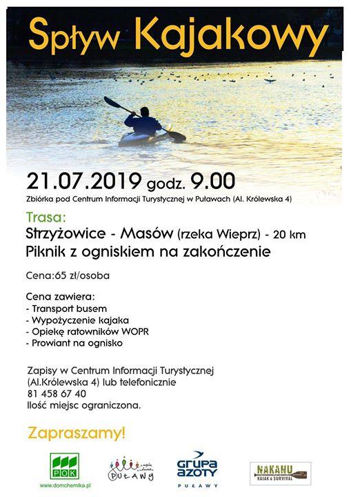 ️️Nie macie planów na niedzielę?️️ Centrum Informacji Turystycznej w Puławach zaprasza na spływ kajakowy…