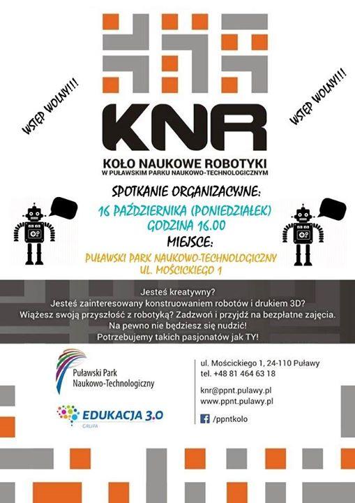 Puławski Park Naukowo-Technologiczny oraz Stowarzyszenie Edukacja serdecznie zapraszają do udziału w zajęciach Koła Naukowego…