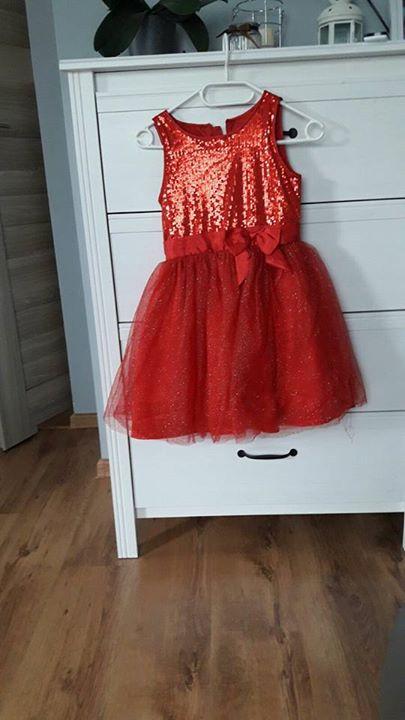 Sukienka na bal – wesele SMYK 40zł – Puławy Czerwona sukienka rozmiar 128 Smyk
