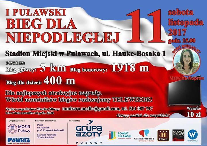 Zapraszamy. Gościa specjalne z Malwina Kopron. Organizatorzy: Mosir Puławy Tygodnik Powiśl