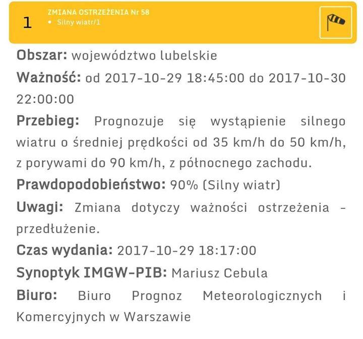 Ostrzeżenie meteorologiczne IMGiW PIB o silnym wietrze pozostają przedłużone get r. dostać godz. 22:00