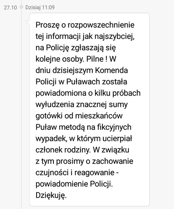 """Uwaga! Pilna informacja od Policji: Dotychczas oszuści próbowali dokonywać wyłudzeń metodą """"na wnuczka"""" i…"""