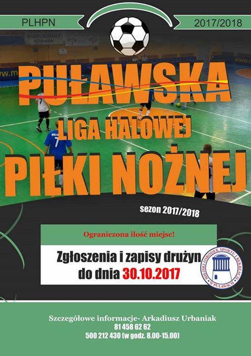 MOSiR Puławy do 30 października przyjmuje zgłoszenia do Puławskiej Ligi Halowej Piłki Nożnej 2017/2018