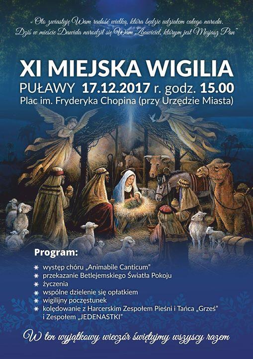 Dzisiaj o 15:00 zapraszamy na Plac Chopina, gdzie odbędzie się XI Miejska Wigilia