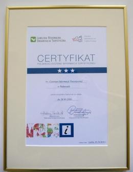 🥇Centrum Informacji Turystycznej otrzymało Certyfikat Polskiego Systemu Informacji Turystycznej Gratulujemy !