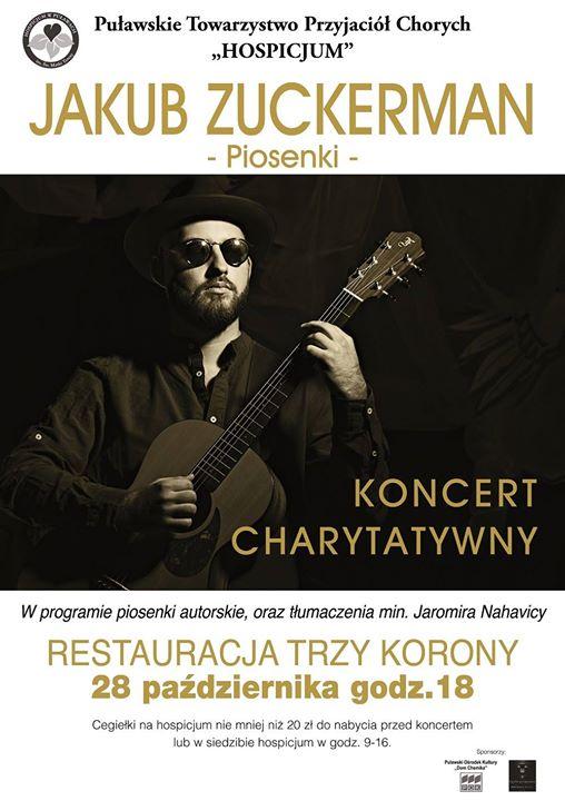 Już dzisiaj o godzinie odbędzie się Koncert Charytatywny dla Hospicjum. Jakub Zuckerman wykona piosenki…