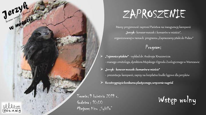 """Zapraszamy na inaugurację kampanii """"Jerzyk – koneser meszek i komarów w mieście"""", która odbędzie…"""